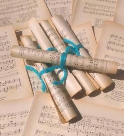 Oude Brocante Antiek Bladmuziek Muziekpapier set 10 vellen