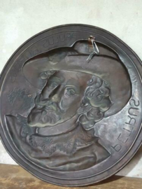 Oude Antieke Koperen Wandbord Bord Petrus Paulus Rubens