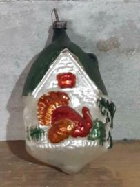 Oude Antieke Kerstbal  4940 Huisje met Kalkoen XL