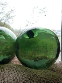 Oude Antiek Vintage Glazen Drijver Visnet Groen Fortex