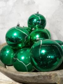 Oude Antiek Vintage Kerstbal 1988 Groen Craquele