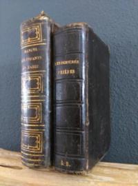 Oude Antieke Set Leren Bijbels Religieuze Boeken