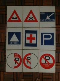 Oude Brocante Schoolplaat Verkeersbord Prent Assorti  23-31
