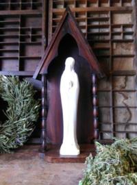 Oud Antiek Maria Mariabeeld Porselein in Houten Kapel