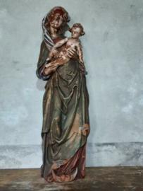 Oude Antiek Maria Beeld Mariabeeld Terracotta Sleets