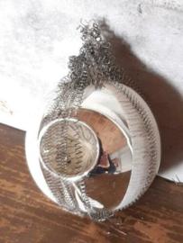 Oude Antiek Vintage Kerstbal  4633 Deukbal met Tinsel