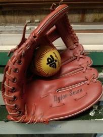 Oude Vintage Baseball Handschoen Leer Columbus