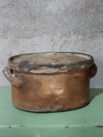 Oude Antiek Aardewerk  Schaal Kookpot Wild Stoofpot