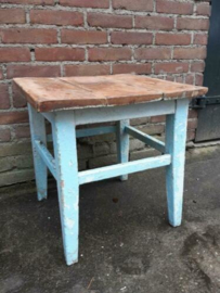 Oude Brocante Vintage Houten Tafel Tafeltje Blauw