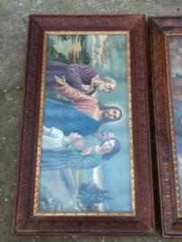 Oud Brocante Religieus Schilderij Jezus met Discipelen