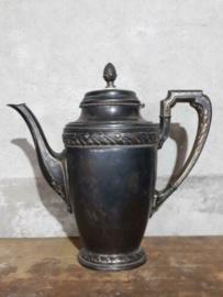 Oude Antieke Verzilverde Art Nouveau Koffiekan Theekan Floreat Alpaca