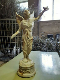 Gietijzeren Engel Beeld Engelbeeld Groot Wit/Roest met Vogel