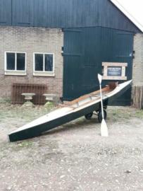 Oude Vintage Houten Kano Boot 1950 op Karretje