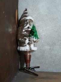 Oude Antieke Kerstbal  2323 Kerstman op Clip