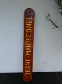 Oud Brocante Houten Naambord Boot Jeane Marie Conel