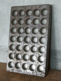 Oude Brocante Vertinde Metalen Matrijs Chocolade Mal