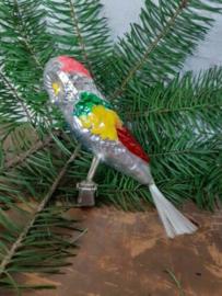 Oude Antieke Kerstbal 4603 Vogel op Clip Parkiet Parrot Papegaai