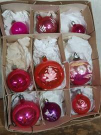 Oude Vintage Kerstballen 7248 Doosje Russische Roze