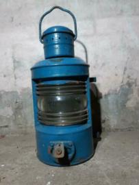 Oude Antieke Scheepslamp Scheepsantiek Blauw Mastlamp