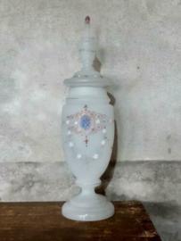Oude Antieke Duitse Dekselvaas Vaas met Deksel Matglas