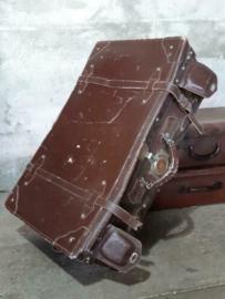 Oude Antiek Vintage Lederen Leder Koffer