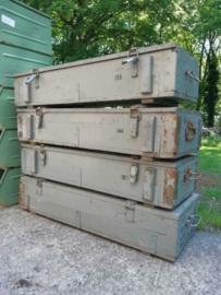 Oude Houten Legerkist Munitiekist Kist Groot XL Groen Grijs