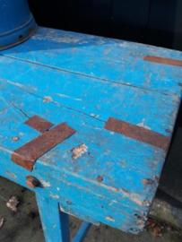 Oude Brocante Hardhouten Tafel Markttafel Sidetable Blauw