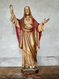 Oud Antiek Heiligenbeeld Jezus Beeld Heilig Hart