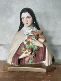 Oude Brocante Antiek Theresia van Lisieux - Gipsen Beeld