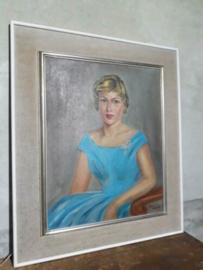 Oud Vintage Portret Schilderij Olieverf op Linnen