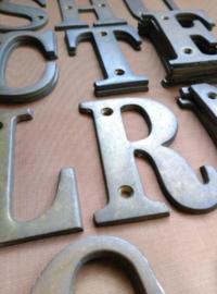 Oude Antieke Koperen Letter Letters ABC