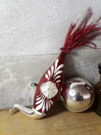 Oude Antieke Kerstbal  2252 Vogel Oogje Zwaan Pauw