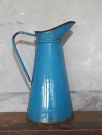 Oude Brocante Emaille Lampetkan Waterkan Blauw