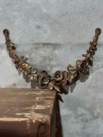 Oude Antieke Koperen Ornament van Kast of Spiegel Guirlande Bloemen