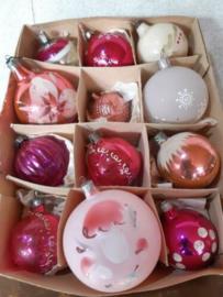 Oude Vintage Kerstballen 5328 Doosje Russische Mix Roze
