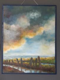 Abstract Olieverf Schilderij Het Wad Rein Hooghiemstra Impressionistisch
