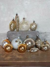 Oude Vintage Kerstballen 5689 Doosje Russische Opaal Goud