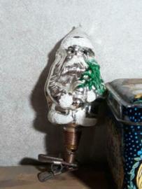 Oude Antieke Kerstbal  2326 Kerstman op Clip