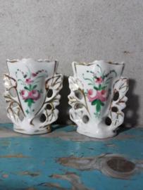 Oude Antieke Set Franse Biedermeier Bruidsvaasjes Vaasje Porselein
