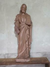 Oud Antiek Gipsen XL Kerkbeeld Beeld St. Joseph met Lelietak en Boek