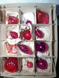 Oude Vintage Kerstballen 5354 Doosje Russische Framboos Roze