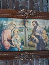 Oud Brocante Religieus Schilderij Maria Josef en Jezus
