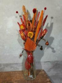 Gemengd Droogboeket Droogbloemen Oranje Rood met Vaas