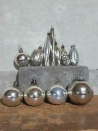 Oude Vintage Kerstballen 5676 Doosje Russische Mix Opaal Zilver