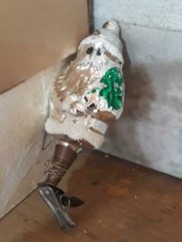 Oude Antieke Kerstbal  2334 Kerstman op Clip