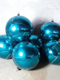 Oude Antiek Vintage Kerstbal 1989 Blauw Craquele