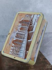 Oud Vintage Verkade Blik Koekblik Grachtenpand Brug