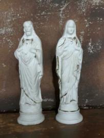 Oud Antieke Maria en Jezus Beeldje Porselein Biscuit