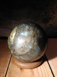 Labradoriet Steen Bol Edelsteen Mineraal - 8 cm Grijs