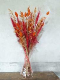 Gemengd Droogboeket Droogbloemen met Vaas Erlenmeyer Oranje Cerise